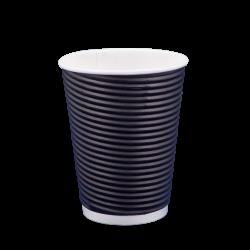 Ποτήρι χάρτινο 12oz γκοφρέ μαύρο 25τ