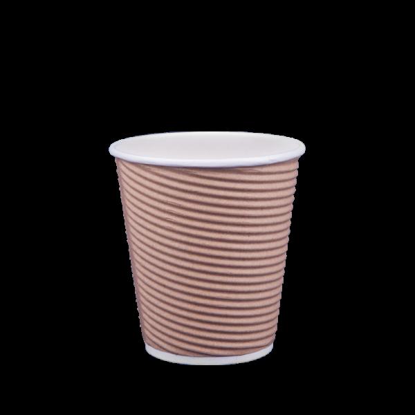 Ποτήρι χάρτινο 8oz γκοφρέ μπέζ 25τ