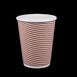 Ποτήρι χάρτινο 12oz γκοφρέ μπέζ 25τ