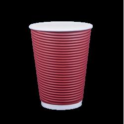 Ποτήρι χάρτινο 12oz γκοφρέ μπορντώ 25τ