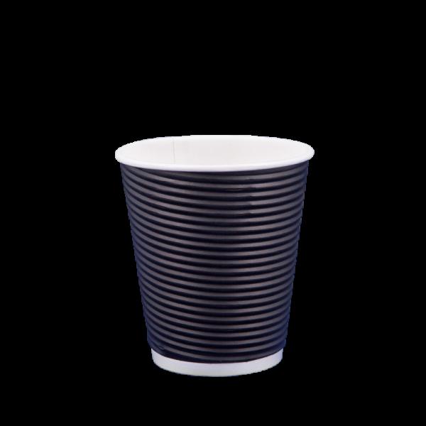 Ποτήρι χάρτινο 8oz γκοφρέ μαύρο 25τ
