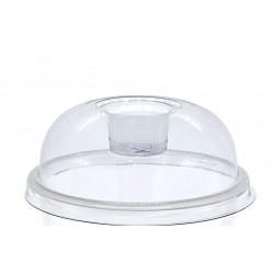 Καπάκι 90mm πομπέ διάφανο πλαστικό Low Deep σταυρός για ποτήρι χάρτινο 12oz
