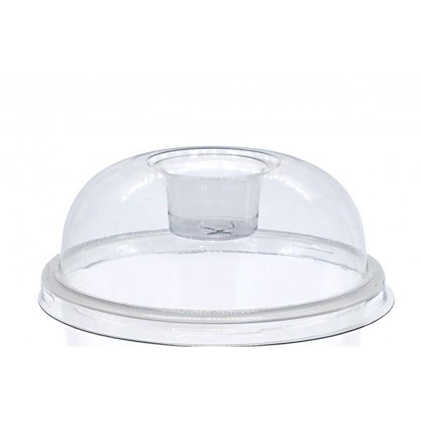Καπάκι 90mm πομπέ διάφανο πλαστικό Low Deep σταυρός για ποτήρι χάρτινο 12oz Καπάκια ποτηριών